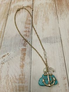 Goldtone Anchor and Turquoise Stone Pendant Nechlace