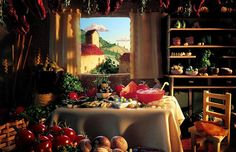 The finished images have been used for advertisements, such as these Tuscan scenes produced for Sacla pasta sauces  Picture: CARL WARNER