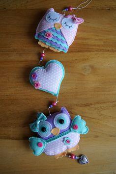 Handmade by JoHo - uilenslinger vilt en stof - owl felt