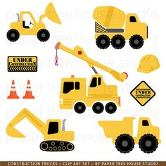 Construction Trucks Clip Art Set  9 Print by papertreehousestudio, $4.75