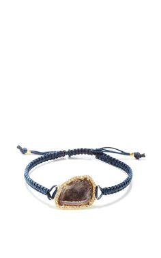 One Of A Kind Geode And Diamond On Navy Macrame Bracelet by Kimberly McDonald for Preorder on Moda Operandi