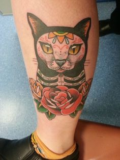 Day of the Dead Cat instead of roses use Indian blanket flowers