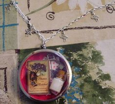 Alice shadowbox necklace (with flamingos!)