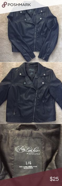 "Aeropostale leather jacket Aeropostale' Pretty Little Liars faux leather jacket. Worn, but doesn't show any signs of wear! Dimensions: sleeve length 25"", bust 15"", shoulder to shoulder 17"", and length 23"" Aeropostale Jackets & Coats"