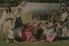 """""""Cleopatra"""" in the Domain, Auckland.  Robert Walrond, 1914.  Autochrome.  Collection of Museum of New Zealand Te Papa Tongarewa"""