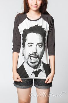 Robert Downey Jr TShirt Baseball Iron Man Wink Face by CouPleParel, $17.99
