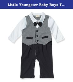 Little Youngster Baby-Boys Three Piece Design Suit, Vest & Bowtie, Black & White, 12-18 Months. Retro long sleeve three piece set for baby boys between 3 months and 2 years. White long sleeve collared shirt with black bow tie. Golden Vest with black accented buttons and pockets. 8 Button leg snap design allows for easy opening and closure. Do not Bleach or Tumble Dry. 100% Cotton.