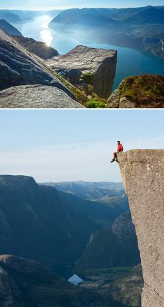 Sit on the Edge of Preikestolen in Norway - Not on a trip with my parents. They'd never let me do this. And I'd have to work up the nerve.
