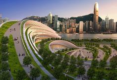 Green rooftop planned for The Express Rail Link - West Kowloon Terminal by Aedas (connecting Hong Kong to the National High Speed Rail Network)