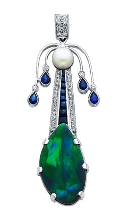 Art Deco pendant in 18k white gold features a line of sapphires and pear-shape sapphire accents, with a 12.54 ct. freeform black opal at the bottom and diamond accents.