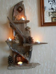 Wonderful DIY projects you can do with driftwood - Diy Projekt - Wonderful DIY projects you can do with driftwood projects Driftwood Shelf, Driftwood Projects, Driftwood Furniture, Rustic Decor, Farmhouse Decor, Coastal Decor, Deco Nature, Deco Originale, Home Candles