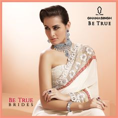 True Bridal Grace: ‪#‎BeTrueBrides‬ choose light colours for their bridal attire & adorn in a contrast of sparkling Diamond necklace sets.