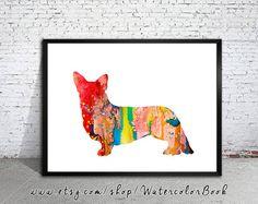 Corgi dog Watercolor Print Home Decor dog by WatercolorBook, $15.00