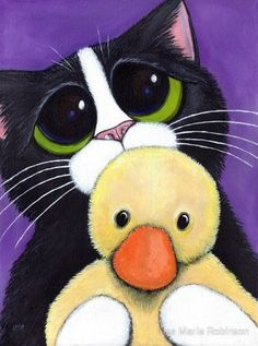 Adorable cat painting with huge sad eyes and a fluffy duck, illustration by Lisa Marie Robinson and like OMG! get some yourself some pawtastic adorable cat shirts, cat socks, and other cat apparel by tapping the pin! Scared Cat, Kawaii, Here Kitty Kitty, Sad Kitty, White Cats, Art And Illustration, Cat Illustrations, Cat Drawing, Whimsical Art