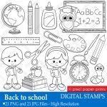 Back to School Digital Stamps Set