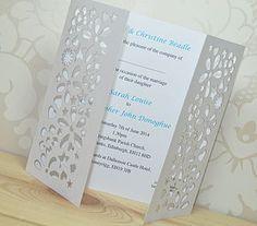 Flower Laser Cut Gatefold Wedding Invitation - invitations