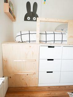 Slaapkamer make over en DIY halfhoogslaper – Ikea Nordli hack – Mix it Make it Small Room Bedroom, Room Decor Bedroom, Girls Bedroom, Ikea Nordli, Loft Bed Plans, Cool Kids Rooms, Kids Room Design, Room Inspiration, Kidsroom