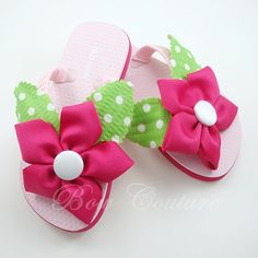 Boutique Ribbon Flower Embellished Flip Flops