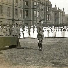King George V visits convalescing troops and nurses at the East Leeds Military Hospital in 1915 - just over 100 years later, The Princess Royal today visits the same site, which is now home to the Thackray Medical Museum. Photo courtesy of the Thackray Medical Museum. #KingGeorgeV #GeorgeV #PrincessAnne #PrincessRoyal