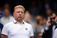 Boris Becker watches the Gentlemen's Singles Final on Centre Court