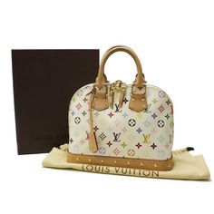Louis Vuitton Alma PM Monogram Multicolore Handle bags White Canvas M40443