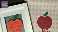 """Teacher Christmas gifts! """"It takes big hearts to shape little minds""""  Papercut floated over backing paper made up using the drawing of the teacher and teaching assistant which the little one did - I'll pop a note in to apologise for the scary faces"""