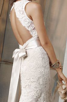 "Jim Hjelm : Style No. 8011 : Wedding Dresses Gallery : Brides  Ivory Alencon Lace over Champagne Charmeuse A-line formal bridal gown, sleeveless ""V"" neckline, Ivory ribbon with floral detail, open back, chapel train.     <3 love the open back and ribbon."