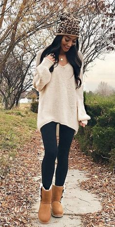 #fall #outfits women's white scoop neck knit sweater