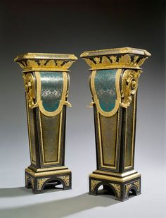 Pair of Boulle pedestals attributed to Etienne Levasseur. Period Louis XVI