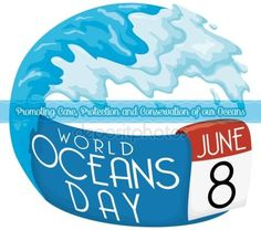 Wave, Ribbon and Loose-leaf Calendar for World Oceans Day
