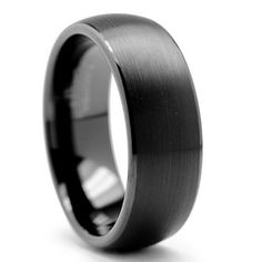 Mens Ring & Wedding Band | $80 Midnight is dome shaped black Tungsten.  An 8mm or 6mm band width with polished smooth edges for a comfortable feel.  The dome shape top has a soft br