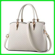 Hynbase Retro Women Korean Cross Body Leather Tote Bag Shoulder Handbag  White - Shoulder bags ( c54acbe11789c