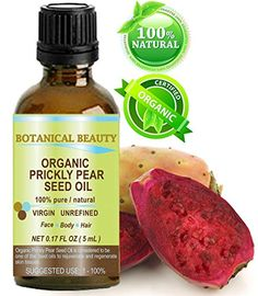 Face Skin Care PRICKLY PEAR CACTUS SEED OIL ORGANIC 100 Pure  Natural  Undiluted  Virgin  Unrefined Cold Pressed Carrier oil 017 Floz 5 ml For Skin Hair Lip and Nail Care One of the richest in magnesium amino acids vitamins C E K and B beta carotene iron calcium potassium Omega 3 6 and 9 Essential Fatty Acids and many other nutrients This oil is a very potent antioxidant by Botanical Beauty * To view further for this item, visit the image link.
