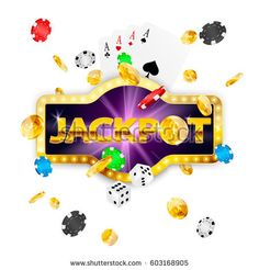 Retro signboard jackpot. Falling coins, poker chips, cards, dices. Vector illustration