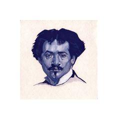 Study of the Self-portrait of Marques de Oliveira (1876) [2017, gouache, 9.9 x 9.6cm)