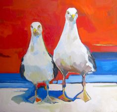 """Contemporary Painting - """"Two Gulls"""" (Original Art from Marsha Zavez) Original Paintings, Original Art, Gulls, Sea Art, Contemporary Paintings, Bird Feathers, Animal Pictures, Oil On Canvas, Coast"""