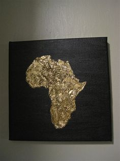 Hand painted, you are sure to absolutely love this piece. Simple and elegant, the continent of Africa is painted on a black canvas using the finest quality iridescent bronze acrylic paint with flakes of gold leaf. The canvas measures 10 inches by 10 inches. I can custom make this painting in any color combination of your choice aswell as size.
