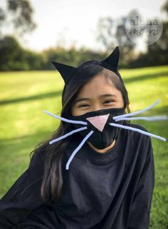 Cat Face Mask & Costume for Halloween during COVID by Brenda Ponnay for @alphamom
