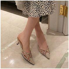 [leggycozy] Korean Elegant Bling Rhinestones Pointed Toe Low Heel Mule Mules Shoes, Heeled Mules, Kawaii Shoes, Types Of Shoes, Low Heels, Rhinestones, Kitten Heels, Slippers, Korean