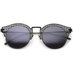 Women's Open Metal Cutout Slim Arm Round Flat Lens Half Frame Sunglasses 50mm