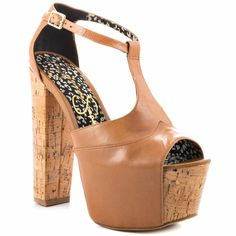 $99.99 The #Dany is back; creating your favorite retro vibe by Jessica Simpson. Twisting up this sandal is soft and supple #beige #leather upper with a skinny ankle t-strap. A thick 2 inch #platform and 6 inch cork block heel deliver balance for a stable and comfy strut.    #Shoe Details:  Leather Upper  Man Made Sole  Made In China  This Shoe Fits True To Size.