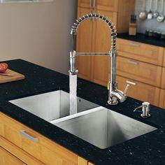 """32"""" x 19"""" Zero Radius Double Bowl Kitchen Sink with Sprayer Faucet"""