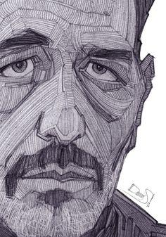 Sketch of Greek actor Vangelis Mourikis.