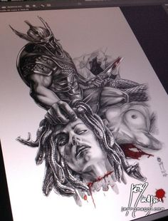 Pretty happy with what I accomplished with this Perseus and Medusa drawing. It w… Pretty happy with what I accomplished with this Perseus and Medusa drawing. It will be a hell of a sleeve :] Hades Tattoo, Zeus Tattoo, Tattoo Sketches, Tattoo Drawings, Body Art Tattoos, Sleeve Tattoos, Tatoos, Gott Tattoos, Perseus And Medusa