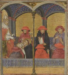 Taddeo di Bartolo,  St. Thomas Aquinas  Presenting the Office of Corpus Christi to  Pope Urban IV  Italian, ca. 1400  Philadelphia, Museum of Art