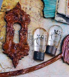 Rusty Metal Chipboard Tutorial featuring Helmar Acid Free Glue and Dusty Attic Chipboard by Tracey Sabella