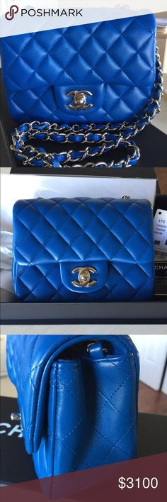 efd9f274a2b7 CHANEL square mini CHANEL blue square mini Lambskin leather with soft gold  hardware. Comes with
