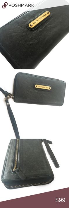Juicy Couture dark grey leather wallet / wristlet Cool dark gunmetal grey leather wallet/ Wristlet by Juicy Couture. In excellent condition. Leather is extremely soft. Super roomy for all of your cards and cash. Juicy Couture Bags Clutches & Wristlets