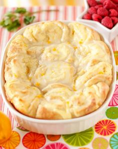 Lemon Cheesecake Morning Buns. Rolls are soft, buttery, and tangy. They almost have the texture of a flaky bread pudding. And needless to say, they're delicious. You can serve them with some raspberries and a tall glass of cold milk. Enjoy!