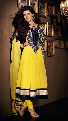$84.61 Yellow Thread Work Full Sleeve Anarkali Salwar Kameez 24407